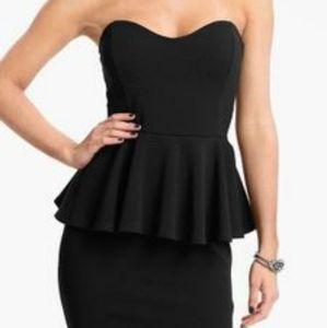 NWOT Speechless Black Strapless Peplum Dress
